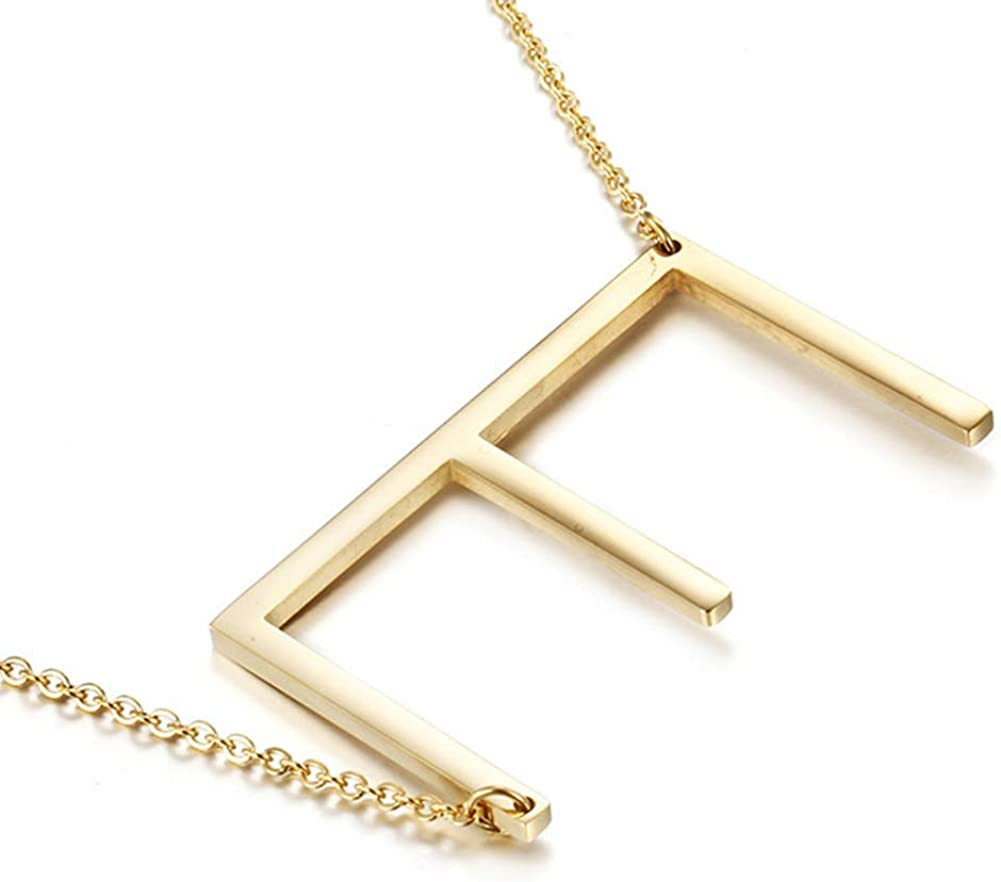 MOMOL Sideways Initial Necklace 18K Popular brand in the Brand new world Steel Stainless Plated Gold