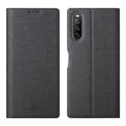 Foluu Hülle für Sony Xperia 10 III (2021) Klappdeckel Brieftasche dünn hochwertiges PU-Leder Fächer für Kreditkarten und Ausweise Klappständer Magnetverschluss stoßabsorbierende Schutzhülle Schwarz