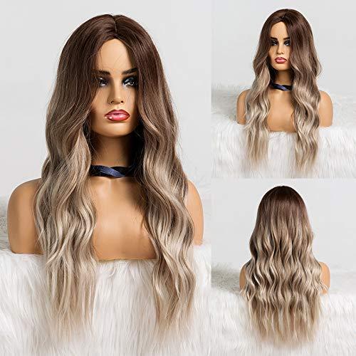 HAIRCUBE Langes Haar Perücken für Frauen Ombre Farbe Dunkelbraun bis Grau Synthetisch Lockiges Haar Perücke Mittelscheitel
