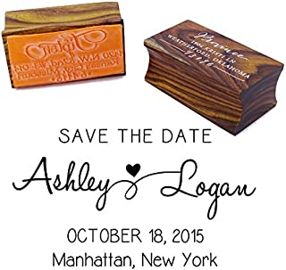 Custom Save The Date Wedding Invitation Stamp Wood Mounted Rubber Stamp Gift Idea