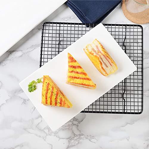 JYV Vajilla De Cerámica Pure Fashion Placa Blanca Cuadrado Largo Plana Sushi Bandeja Plato Postre Vajilla De Cocina Placa De Cena (Size : 12')