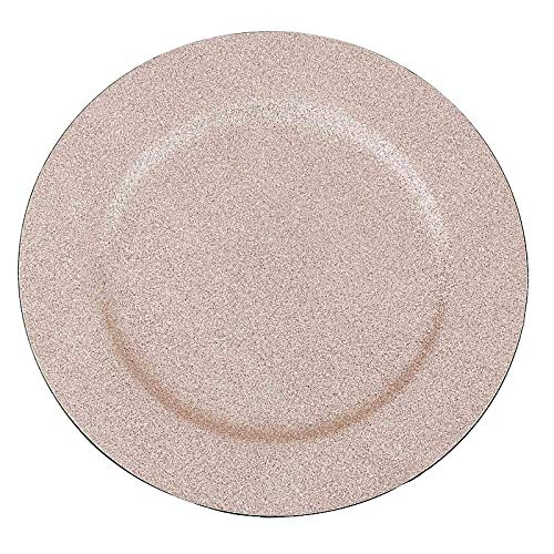 BalsaCircle 6 pcs 13-Inch Blush Glitter Round Charger Plates - Dinner Wedding Supplies for all Holidays Decorations