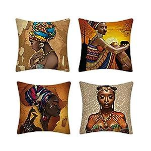 MIGUOR - Funda de almohada estilo japonés estilo europeo chino japonés, funda de almohada geométrica, juego de cuatro piezas, tamaño 45 cm x 45 cm, Lino, Mujer Africana, 18