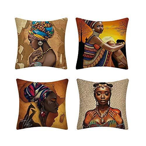 MIGUOR - Funda de almohada estilo japonés estilo europeo chino japonés, funda de almohada geométrica, juego de cuatro piezas, tamaño 45 cm x 45 cm, Lino, Mujer Africana, 18' x18'