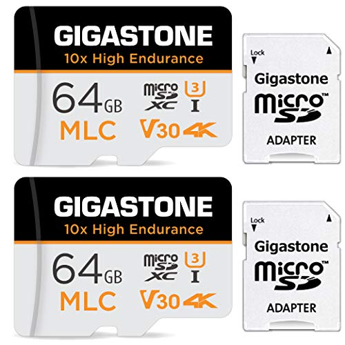 Gigastone 64GB MLC Micro SD Card 高耐久 4K ビデオ撮影 防犯カメラ ドライブレコーダー 監視カメラ 対応 90MB/s U3 Class10(64GB, MLC 2個セット)