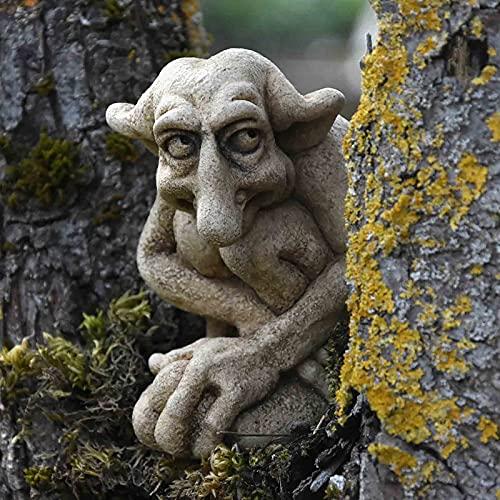 Gartendeko Figuren für Außen Groß, Gargoyle Statue, Gartendeko Garten Ornament Sitzen Magische Fee, Sitzende Elfen Gartenfiguren, Gartenzwerg Lustig Schelmisches Haus