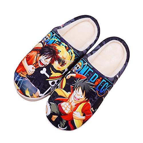YZJYB One Piece Zapatillas De Felpa Invierno Japonés Anime Interiores Antideslizantes Pantuflas Damas Hombres Impresión 3D Lindos Cálidos Caseros Casuales Zapatos,UK 4.5~6/EU 37.5~39(270)