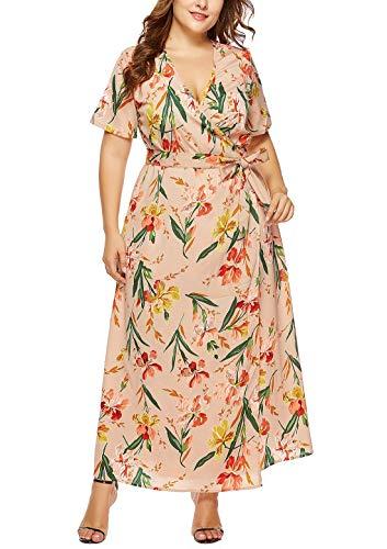 FEOYA - Mujer Vestidos de Playa de Talla Grande Cuello en V para Viaje Vacaciones Boda Banquete Falda Larga de Estilo Bohemio con Manga Corta