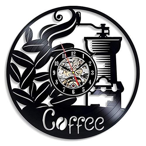 Njuxcnhg Thema Vinyl Uhr Geschenk für Schlafzimmer Dekoration Uhr Kaffee Küche Cafe Wanddekoration Wohnkultur Vintage Wecker Mechanismus