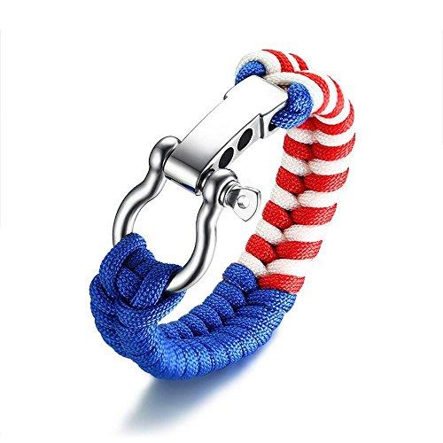 Yarmy Heren Armband Heren Hand Ornamenten 21+1.5cm Heren Hoefijzergesp Blauw rood Wit Nylon Hand Touw kan worden aangepast aan Stuur familieleden en vrienden Vakantie Cadeau voor Beste