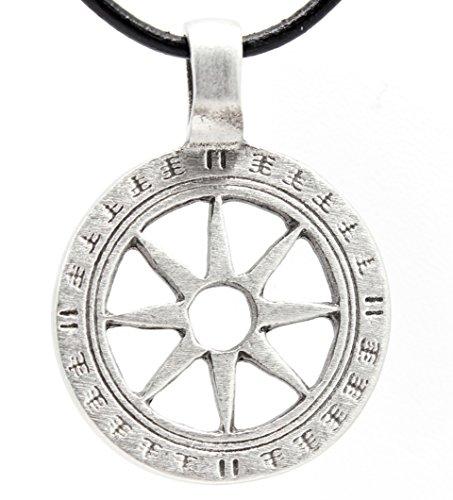 Pewter Wheel of Life Tibetan Buddha Yoga Namaste Meditation Pendant on Leather Necklace