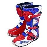 CYCPACK Bambino Moto Stivali Impermeabili Red & Blue - Scarpe Moto Blindata Lungo della Caviglia Crash di Protezione, All'aperto Sport Touring Urbano Bambini Stivali,35