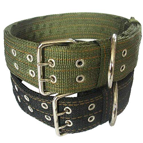 Pesp Dog Metal Buckle Double 2-rows Belt Strap Adjustable Collar Large L (Black)