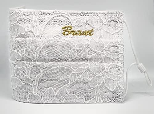 """Braut Hochzeit medizinische Mund und Nasenbedeckung weiß creme bestickt""""Braut"""" in Gold mit aufgenähter Spitze verstellbaren Gummibändern"""