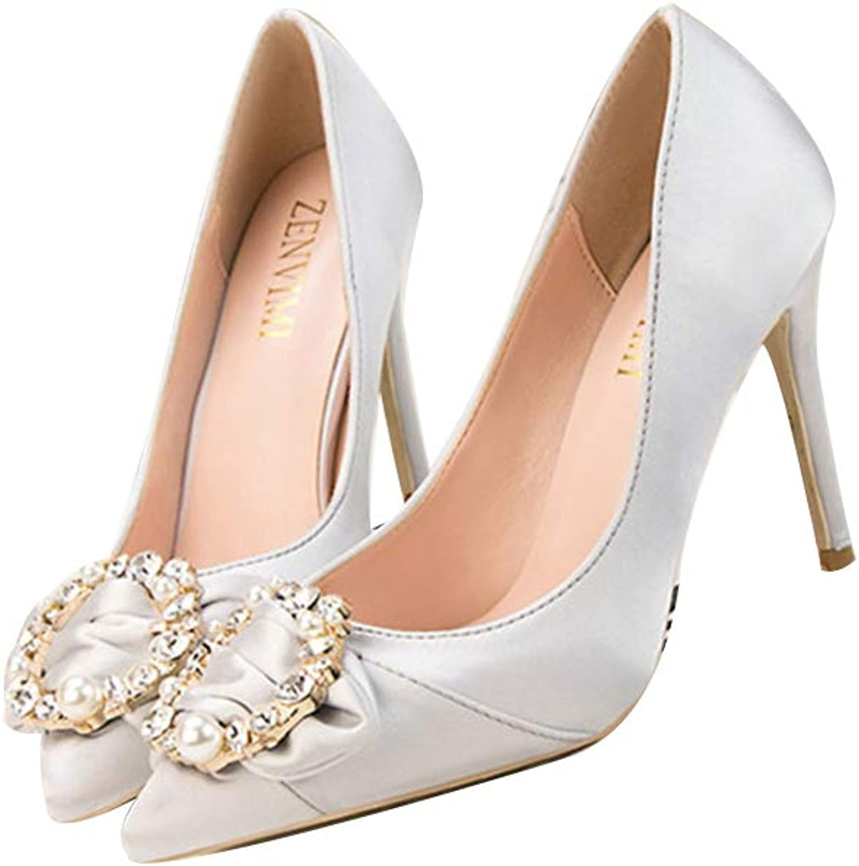 ZLL8 Ladies Sexy Pointed Shiny Rhinestone Buckle high Heels