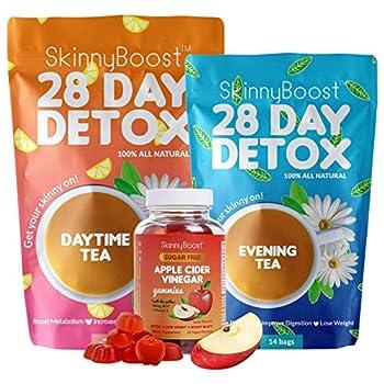 Skinny Boost Detox Power Kit-1 Daytime Tea  28 Bags 1 Evening Detox Tea  14 Bags  Plus 1 SUGAR FREE Apple Cider Vinegar Gummies  60 Vegan Gummies  Supports Detox & Cleanse-Non GMO Vegan All Natural