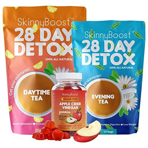 Skinny Boost Detox Power Kit-1 Daytime Tea (28 Bags)1 Evening Detox Tea (14 Bags) Plus 1 SUGAR FREE Apple Cider Vinegar Gummies (60 Vegan Gummies), Supports Detox & Cleanse-Non GMO, Vegan, All Natural