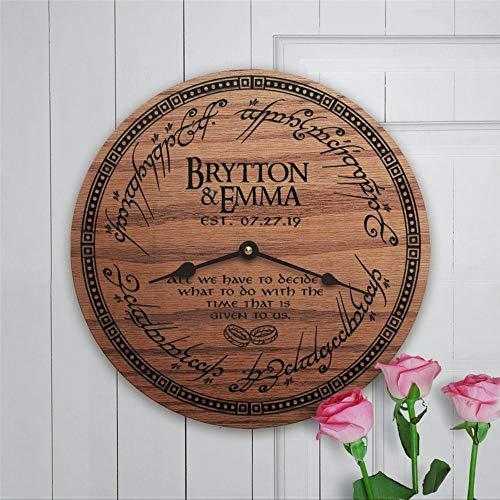 Reloj de pared redondo de madera con nombre personalizado Lotr Arwen All we have to do12 pulgadas redondo de madera colgante para sala de estar, cocina,