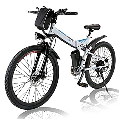 Angotrade 26 inch Electric Bike Folding Mountain E-Bike 21 Speed 36V 8A Lithium Battery Electric Bicycle for Adult(White)