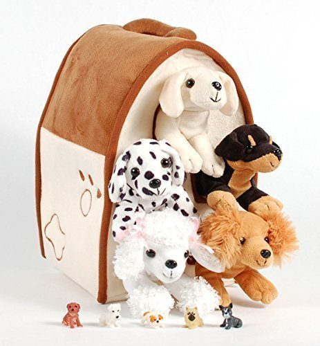 Unipak 12' Plush Dog House Carrying Case with Five (5) Stuffed Animal Dogs (Dalmatian, Yellow Labrador Retriever, Rottweiler, Poodle, and Cocker Spaniel) + Free Bonus Five Mini Puppy Figures