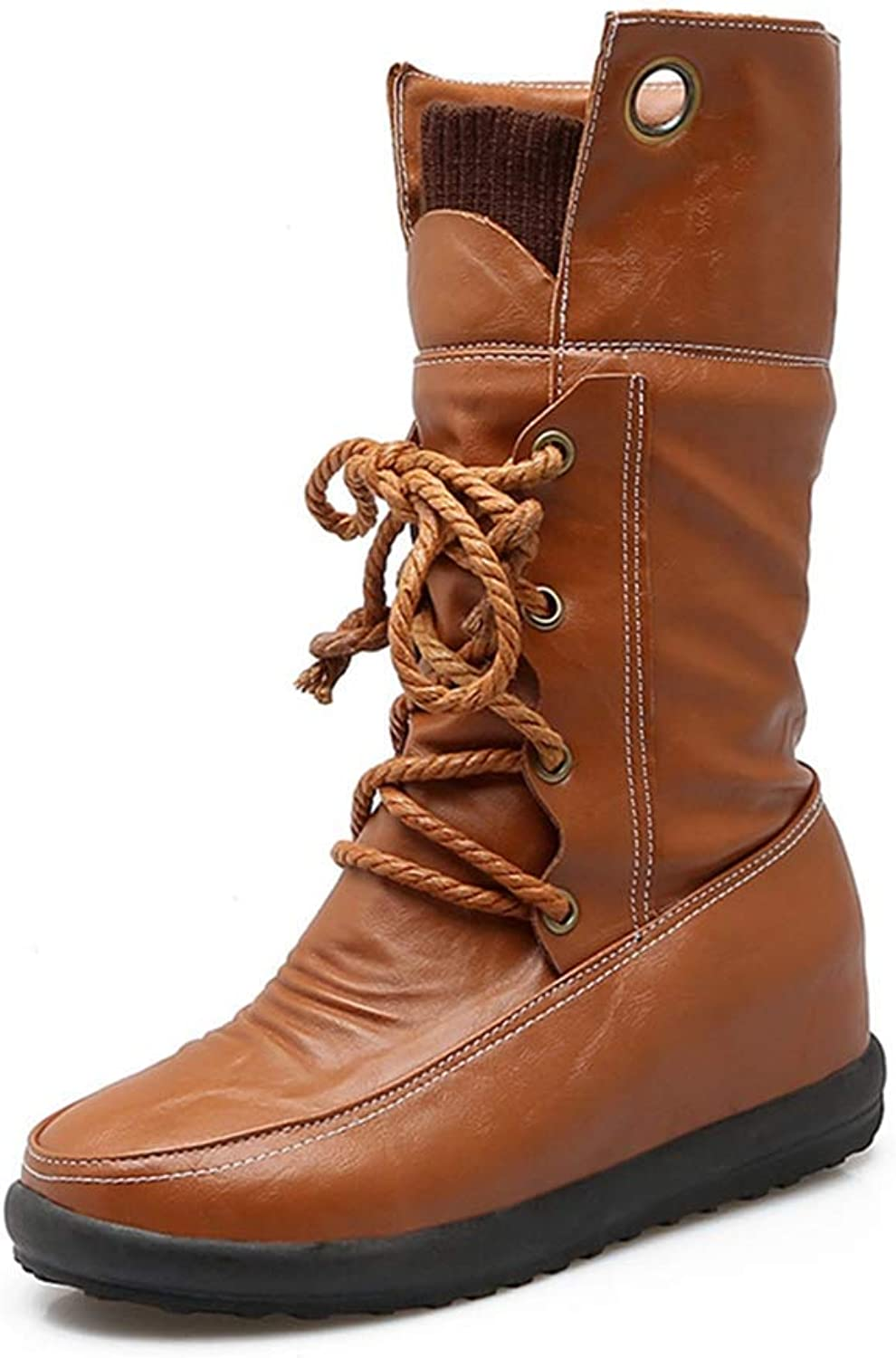 Fashion shoesbox Women's Combat Mid Calf Boots Leather Waterproof Round Toe Lace Up Flat Comfort Wide Calf Riding Boots