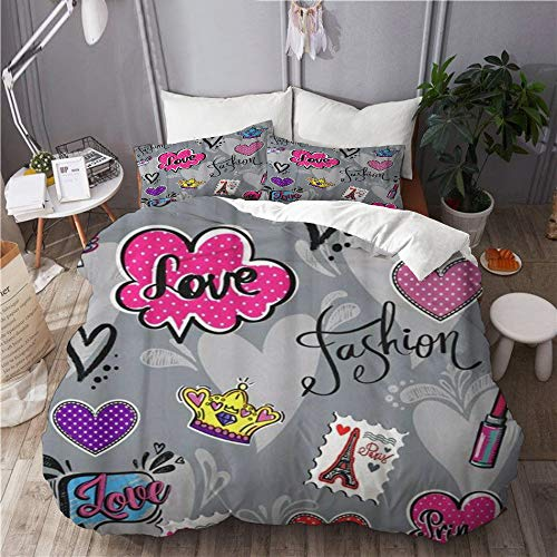 ROSECNY Modern Newest Quilts Cover Set for Girl Teenagers Lipstick Patch Badges Paris Eiffel Tower 3 Pieces Luxurious Zippered Duvet Cover Sets 2 Pillow Shams Easy Care Bedspread Full-Queen