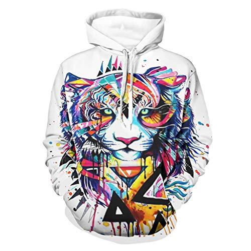 Sudadera con capucha de tigre con estampado de marca genérica, color blanco, de manga larga, de hip-hop, 5xl