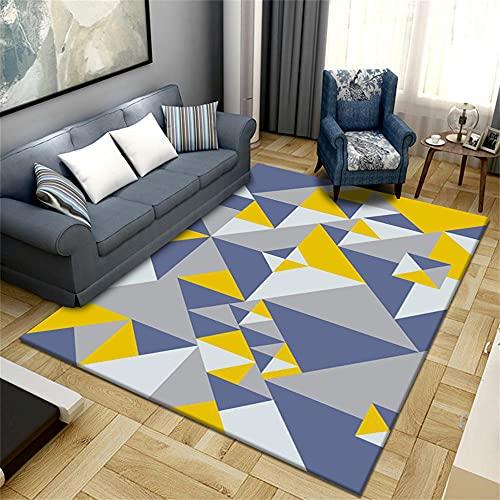 Tapis Interieur Paillasson Noel Tapis de Salon Design géométrique Triangle Jaune Poils Courts sans Poils résistant à l