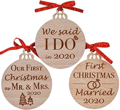 Heart's Sign Our First Christmas Married Ornament 2020 | Set of 3 Wooden Rustic Wedding Ornaments | First Year as Mr & Mrs Xmas Gifts for Newlyweds | Vintage Unique Wedding Gifts for Couples