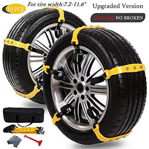 "Snow Chains for SUV Car Anti Slip Adjustable Universal Emergency Thickening Anti Skid Tire Chain,Winter Driving Security Chains,Traction Mud Chains for Tire Width 7.2-11.6"",10 Pcs"