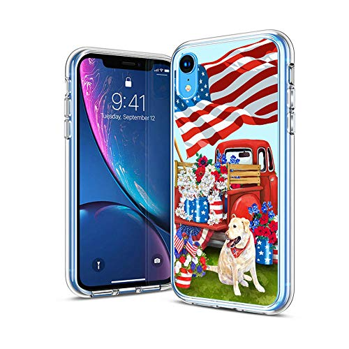 """cocomong 4th of July Patriotic for iPhone XR 6.1"""" Case Cute Dog American Flag Pattern Flexible TPU Protective Phone Case Cover for iPhone XR Anti-Scratch-Drop Shockproof Bumper for Girls Women Men"""