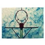 DAHALLAR Talla Mediana Rompecabezas 500 Piezas,Antiguo Tablero de Baloncesto negligencia con aro Oxidado por Encima de la Calle Cancha Azul Cielo Nublado,Decoración Colgante del Hogar,20.4' x 15'