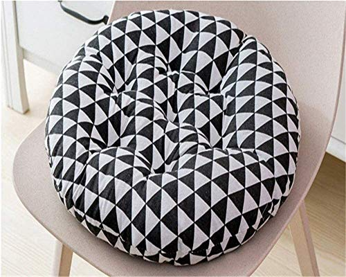 Breathable Lumbar Support Chair Cushion 2PC Patio Comfortable Soft Round Cotton And Linen Chair Pad Garden Patio Home Kitchen Office Coffice Leaf Seat Cushion ( Color : Blacktriangle , Size : 40*40 )