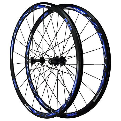 ZNND 700C Ruedas para Bicicleta,Llanta MTB De Doble Pared Freno C/Freno V Carretera Bicicleta Rueda 7/8/9/10/11/12 Velocidad (Color : Blue, Size : 700C)