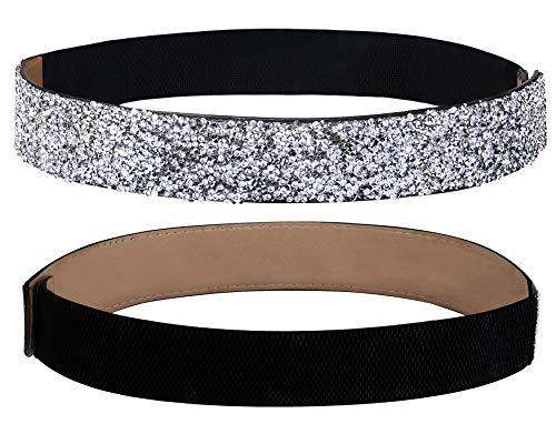 Lovful Women Stretchy Dress Belt, Rhinestone Bling Elastic Waist Belt,Crystal Elastic Waistband Belt,Silver