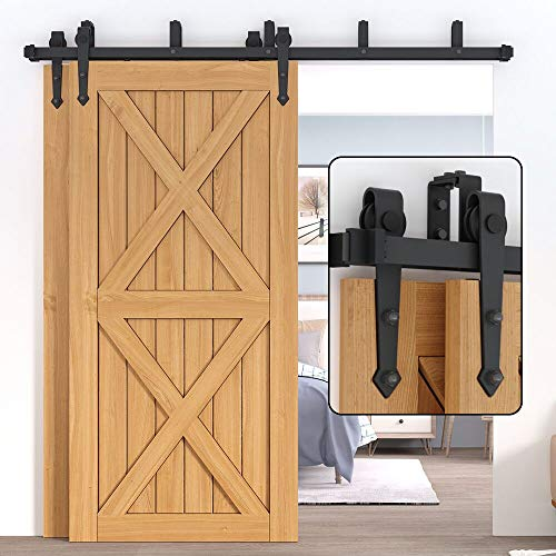 Winsoon 5FT Sliding Bypass Barn Door Hardware Kit for Double Wooden Doors, Low Profile, Overlapping Tracks, Heavy Duty, 5-16FT for Choose