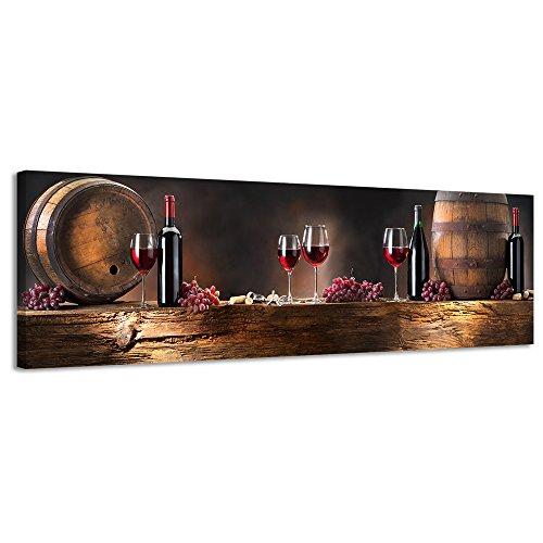 Panorama Leinwand Holz Wein Leinwand Wand Art Leinwandbild Still Life - 158x46cm