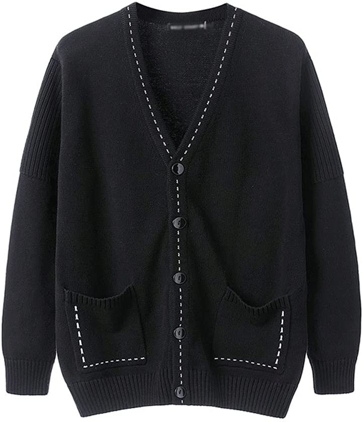 GELTDN Autumn and Winter Men's Solid Color Cardigan Sweater Comfortable and Warm Men's (Color : Black, Size : XXL Code)