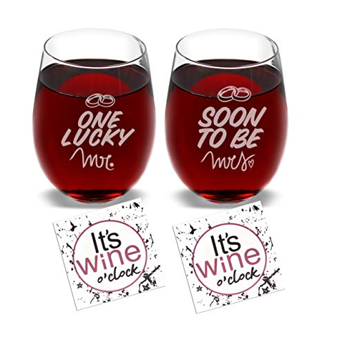 One Lucky Mr. & Soon to be Mrs. - Set of 2 Wine Glasses Combo with Coaster and Gift Box - Funny Novelty Present for Wedding Engagement Housewarming Couples