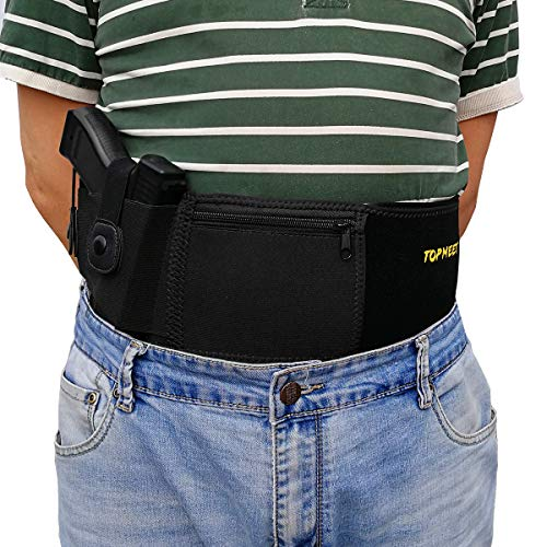 Belly Band Holster Concealed Carry,Airsoft Pistol Gun Holster OWB IWB Magazine Pocket,Compatible 1911 Glock 19 23 26 42 43 22 21 27,S&W M&P Shield,Ruger Security 9,sccy cpx-2,springfield xds,Sig Sauer