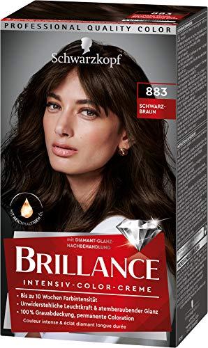 Brillance Intensiv-Color-Creme Haarfarbe 883 Schwarz-Braun Stufe 3, 3er Pack(3 x 160 ml)