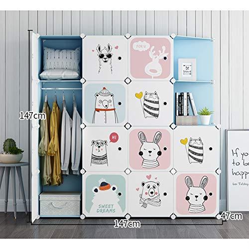 %35 OFF! Xnxn Kids Wardrobe Armoire Organizer, Portable Resin Bedroom Armoire Cute Cartoon Closet Mo...