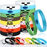 24 Pieces Pixel Miner Style Character Wristband Bracelets Silicone Wristbands, Pixel Theme Bracelet Designs for Boys and Girls Mining Themed Style Party Supplies, 8 Designs