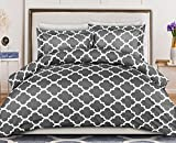 Utopia Bedding Duvet Cover Queen Size Set - 1 Duvet Cover with 2 Pillow Shams - 3 Pieces Comforter Cover with Zipper Closure - Ultra Soft Brushed Microfiber, 90 X 90 Inches (Queen, Quatrefoil Grey)