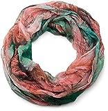 styleBREAKER fular de tubo con motivo mixto de hojas, tela crash y arrugada, ligero y sedoso, mujeres 01016086, color:Verd-rosa-coral-violeta