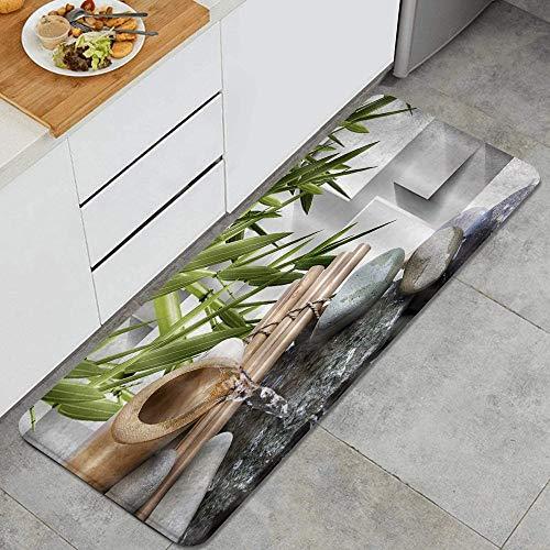 HARXISE Tapis Cuisine Antidérapant Lavable en Machine,Japanese Zen Bamboo Spa Asiatique Zen Stone Water Flow,Tapis de Bain Paillasson Tapis de Sol Cuisine