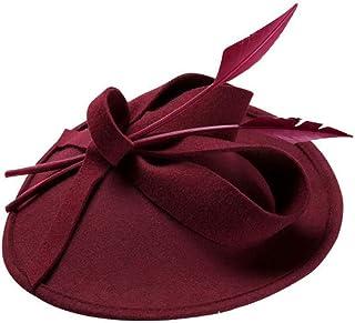 ZOO 女性のためのヴィンテージフェルトワイドつばウールリボン帽子ボウラー帽子