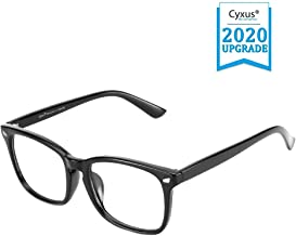 Cyxus Blue Light Blocking Glasses for Computer Use, women/men UV Filter Eyewear, Square Eyeglasses Frame, Anti EyeStrain Headache(8082T01, Lightweight Black)