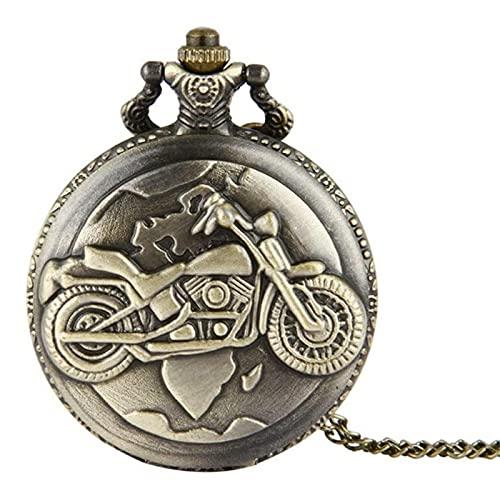 HHTD Modelo de la motocicleta del reloj de bolsillo Modelo de bolsillo tallado clásico para hombres y mujeres con el regalo de reloj de bolsillo de cuarzo vintage para un día de aniversario de cumplea