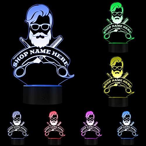 WANGXN Salon de Coiffure Cheveux Coiffeur Coupe de Cheveux Entreprise Barbe Salon Homme LED Lampe de Nuit personnalisé Salon de Coiffure nom Acrylique LED Bord lumière Logo